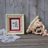 Wall Decor, Shabby Chic, Shelf, Framed Botanical, Ivory, Pink, Gold, Hand Painted, Distressed,