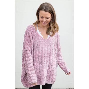Love Or Leave Me Chenille Sweater - Dusty Rose