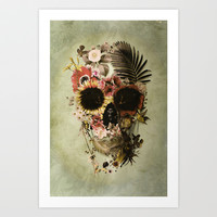Garden Skull Light Art Print by Ali GULEC