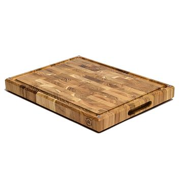 """Large Teak Wood Cutting Board, End Grain, 17 x 13 x 1.5"""" with Compartments, Juice Groove, and Rubber Feet (Gift Box Included) by Sonder LA 17 x 13 x 1.5 in"""