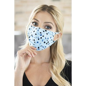 RFM6006-RPR035-BLUE-COLOR SPOTS PRINT REUSABLE FACE MASKS