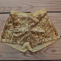ON SALE-Girls Gold Sequin Shorts, Toddler Gold Sparkle Shorts, Birthday Shorts, Girls Gold Birthday Outfit