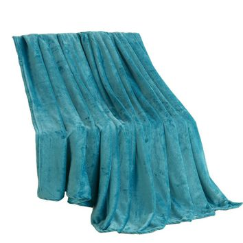 Cool Beddowell Coral Fleece Blanket Solid Blue Polyester Plaid Bedsheet Single Doube Bed Queen King Size Faux Fur Blankets On The BedAT_93_12