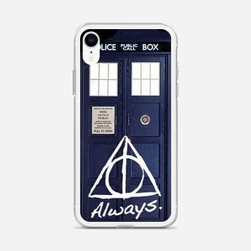 Tardis Police Box Deathly Hallows Harry Potter iPhone XR Case
