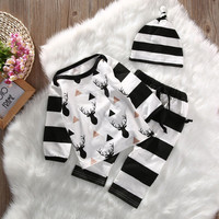 Toddler Kids Baby Girl Boy Clothes Set Cute Tops Striped Long Sleeve T-shirt Pants Hat 3pcs Baby Boys Clothing Outfits