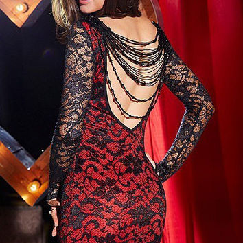 Full Sleeved Red Lace Bodycon Dress with Backless Beaded Fringe Details