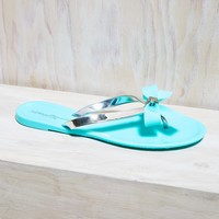 Metallic Bow Thong Jelly Sandals
