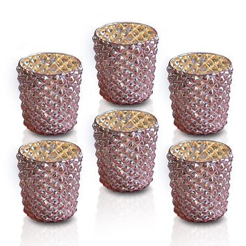 6 Pack | Vintage Mercury Glass Tealight Holders (2.5-Inch, Zariah Design, Rose Gold Pink) - For Use with Tea Lights - For Home Decor, Parties and Wedding Decorations