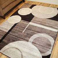 9075 Brown Abstract Contemporary Area Rugs