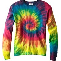 Adult Tie-Dyed Long-Sleeve Cotton Tee (Reactive Rainbow) (Large)