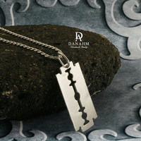 Razor Blade Necklace, Sterling Silver, Yellow Gold Plated, NE004B