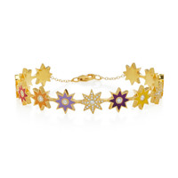 18K Gold, Pave Diamond And Enamel Bracelet | Moda Operandi