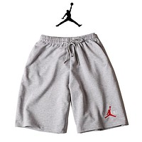 JORDAN Print Side Men Sports Running Shorts Grey