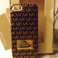 MICHAEL KORS MK iPhone 5s / 5 cell phone hard case Black Brown Gold *RARE COLORS