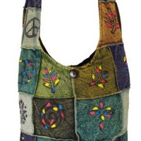 Shangri-La Nook Cotton crossbody Embroidery Flower Ripped Gypsy Bag Handmade in Nepal Turquoise back