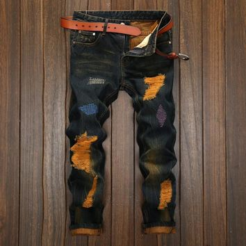 Ripped Holes Strong Character Weathered Vintage Jeans [1922679308381]
