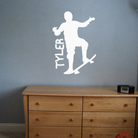 Custom Skateboarder Decal - Personalized - Wall Art - Kids Room - Custom Kid Name - Custom Decal - Gift Idea - Kids Room Decor - Playroom