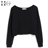 HEE GRAND 2017 Crewneck Sweatshirts Girls Short Sexy Loose Pullover Fashion Hoodies Black Outfits Boyfriend Streetwear WTL1160