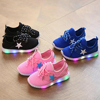 Children Summer Glowing Sneakers Luminous Children's LED Yeezy Shoes for Girls Boys Sp