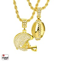 "Jewelry Kay style Men's Football & Football Helmet Pendant 22"" & 26"" Rope Chain Combo MHC 20 G"