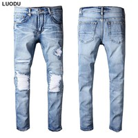 New Italy Style #512# Mens Distressed Knee Ribbed Patches Stretch Moto Pants Light Blue Biker Jeans Slim Trousers Size 28-42
