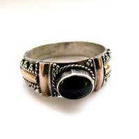 Sterling and Gold Onyx Ring Art Deco Style Vintage