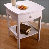 Curved White End Table/Night Stand