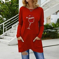 fhotwinter19 Hot sale Christmas wine glass round neck long sleeve top