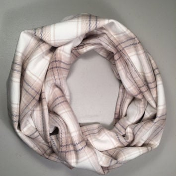 Childs Infinity Scarf Plaid Flannel, Girls Scarf, Boys Scarf, Kid Size, Birthday Present, Christmas Gift, Winter Scarf