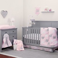 Pink/Grey Elephant 8 Piece Comforter Set For Baby Crib