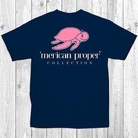Merican Proper Collection Turtle Logo Preppy Navy Southern Bright T-Shirt