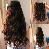 Long Straight/Curly/Wavy Hair Extension Clip in Hair Extensions 5 Clips 4 Colors