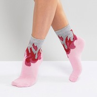 ASOS Pink Glitter Flame Socks at asos.com