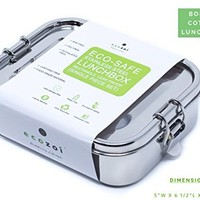 Ecozoi Stainless Steel 1-Tier Rectangle LEAK PROOF Eco Lunch Box for Kids & Adults | BONUS REUSABLE LUNCH BAG | Sustainable Zero Waste Eco Friendly Bento Box Food Storage Container