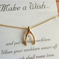 gold wishbone necklace lucky-dainty jewlery