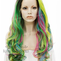 """26 inch Heat Safe Synthetic Lace Front """"Constance"""" with Curly Texture in Space Rainbow"""