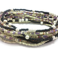 3 Stretch seed bead wrap bracelets, stacking, beaded, boho anklet, bohemian stretchy stackable multi strand black purple copper white silver