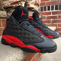 NIKE Air jordan 13 high top men's and women's color matching sneakers casual shoes Black&Red