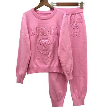 MOSCHINO Trenidng Women Stylish Letter Embroidery Top Sweater Pullover Pants Trousers Set Two-Piece Pink