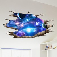 Space Planet Wall Stickers 3D Stereo Wall Stickers Ceiling Living Room Wallpaper Decorative Self-adhesive Ceiling Star Artist