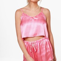 Zoe Candy Stripe Crop And Short Set | Boohoo