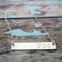 Sterling Silver Name Plate Necklace, Silver Bar Necklace, Monogram Necklace, Gold Initial Plate Necklace, Rose Gold Name Necklace