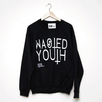 Crew Sweater // Wasted Youth Inverted Cross