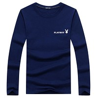 PLAYBOY 2018 autumn new round neck loose bottoming shirt casual pullover sweater F-A000-PPNZ Blue