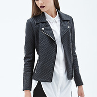 FOREVER 21 Quilted Faux Leather Moto Jacket Black