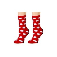 Red and White Polka Dot Fuzzy Socks