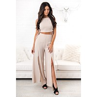 Essence Of Style Lace Up Two Piece (Oatmeal)