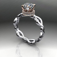 AMORA Gem Ultra H&A and Diamond Engagement Ring 1.13 CTW
