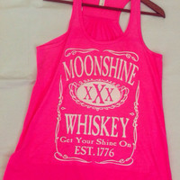 New Neon Pink - Vintage Original Moonshine Whiskey XXX Get Your Shine On Flowy Racerback Florida Georgia Line Tank Top