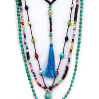 BOHEMIAN TASSEL  MULTI LAYERED NECKLACE SET.  Turquoise w/ Coral.